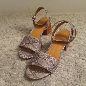 Snakeskin Block Heel Sandals